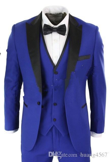새로운 고전적인 스타일 원 버튼 블루 웨딩 신랑 턱시도 피크 옷깃 Groomsmen 남성 복장 댄스 파티 재킷 (자켓 + 바지 + 조끼 + 넥타이) 203