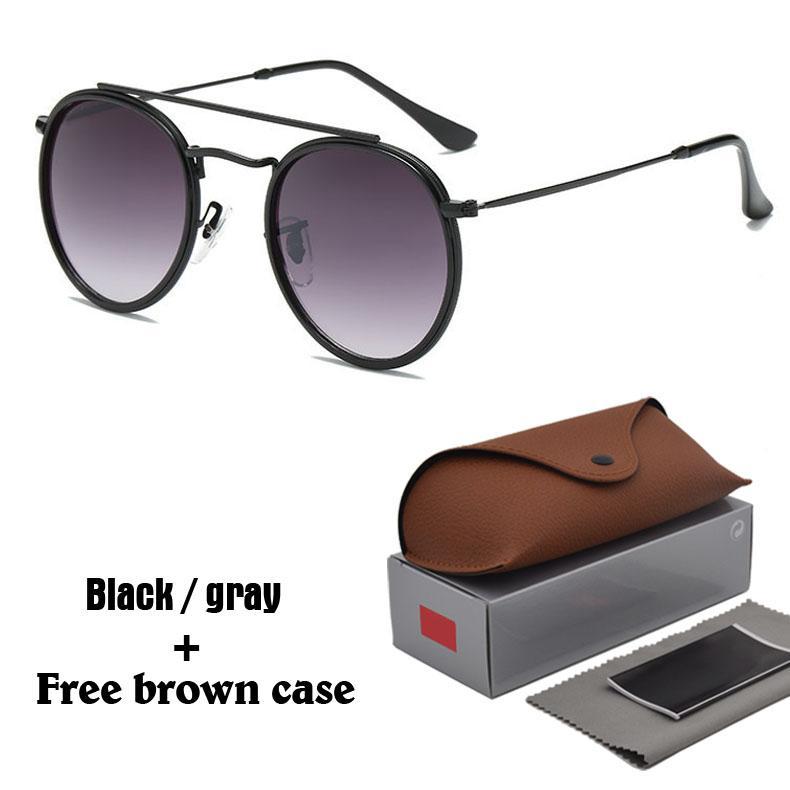 óculos Atacado-redonda de metal dos óculos de sol das mulheres dos homens Steampunk Moda Óculos Retro Vintage Sun com casos e caixa gratuitos