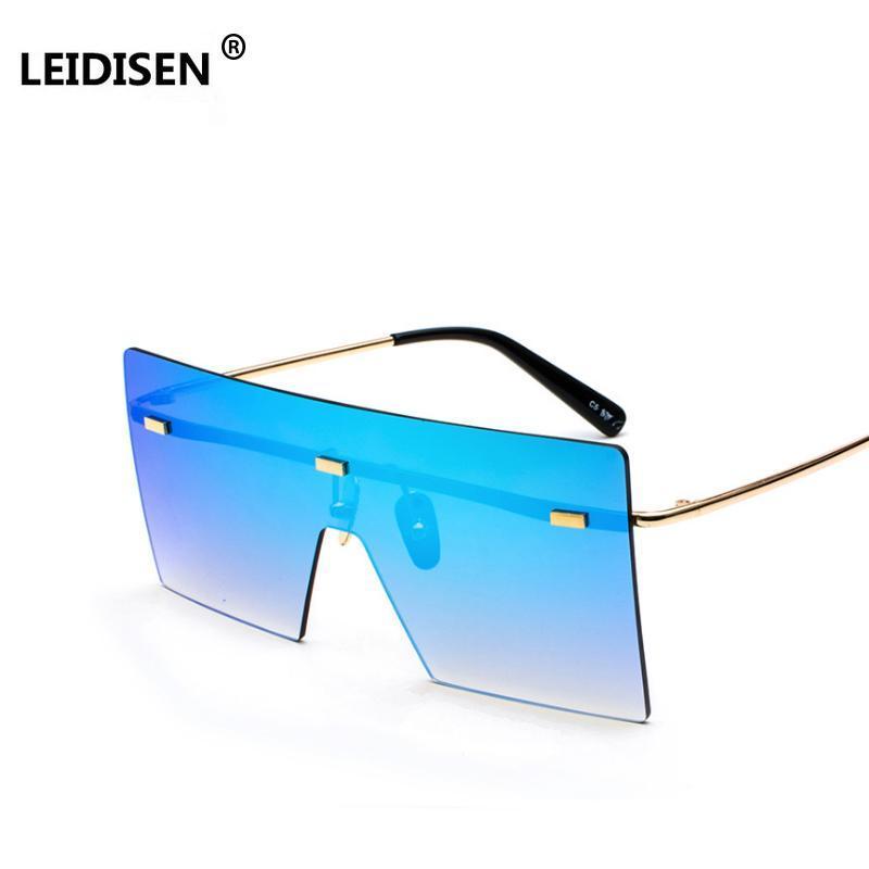Leidisen Fashion Square Sunglasses Men Women Vintage Oversized Rimless Glasses Mirror 2018 Brand Designer Eyewear Shades IIksF