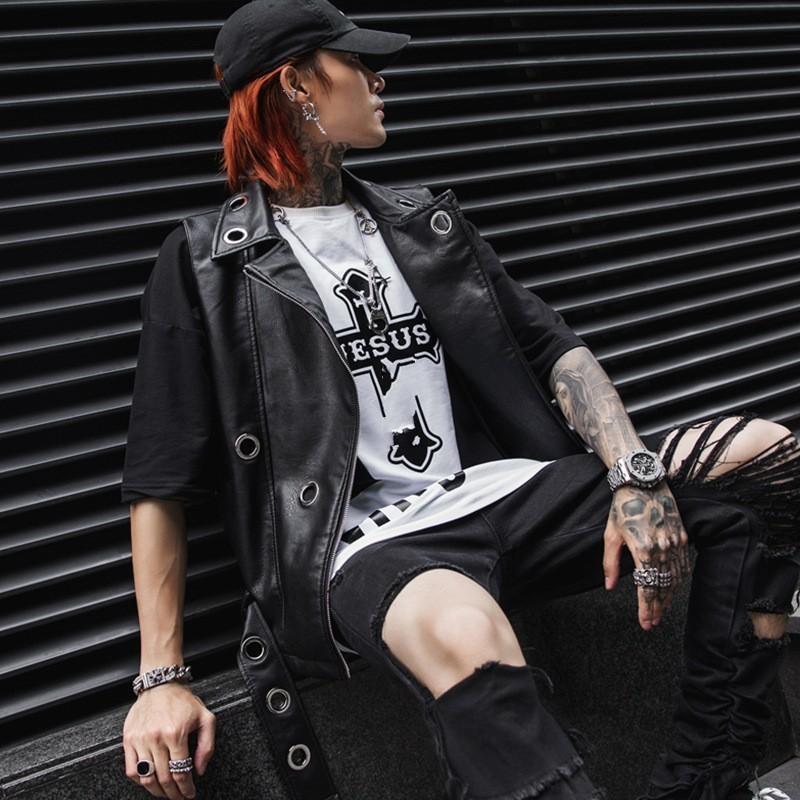 Sans manches Hommes Mode Printemps Pu cuir Veste Ajuster la taille Waistcoat style punk Faux cuir homme Veste motard motocyclette