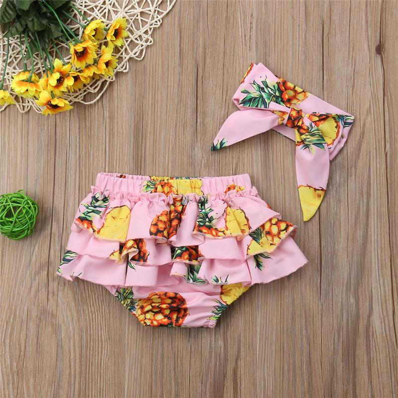 Fashion Ruffles Toddler Infant Baby Girl Kid Shorts Headband Bottoms PP Bloomers Panties 2PCS