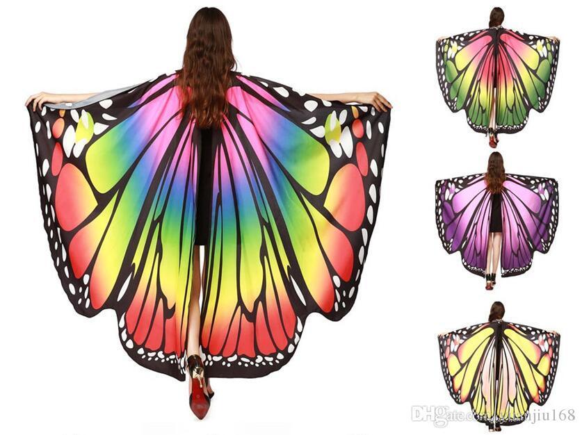 Chamsgend Drop Shipping SICAK Kadınlar Kelebek kanatları Şal Şal Eşarp perisi Pixie Panço Kostüm Aksesuar GB446
