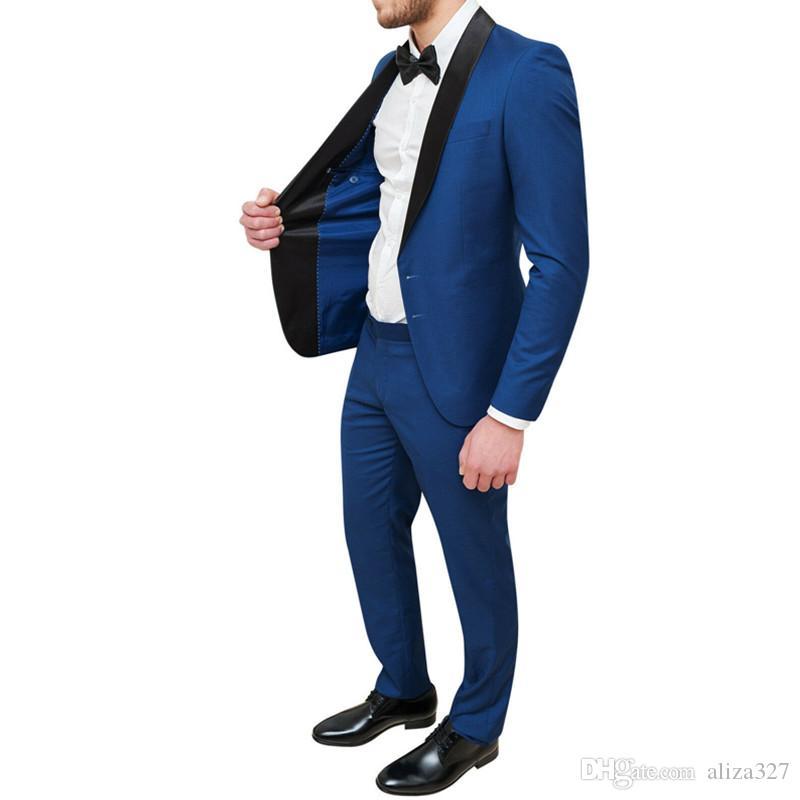 Пользовательские мужские костюмы мужские синий тонкий джентльмен костюм из двух частей блейзеры костюм с бизнес-случайных формальных костюмов брюки костюм мужской