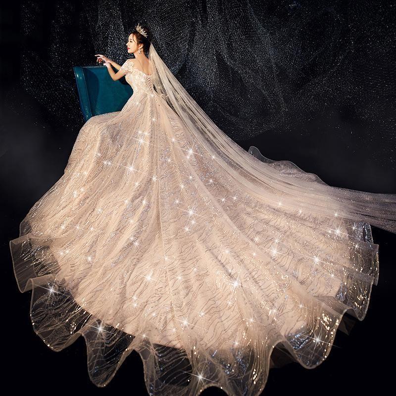 Mariage de luxe Robes chérie balayage train Starry Sky Brillant Perle Perle mariée élégante robe de mariée Robes BLN005