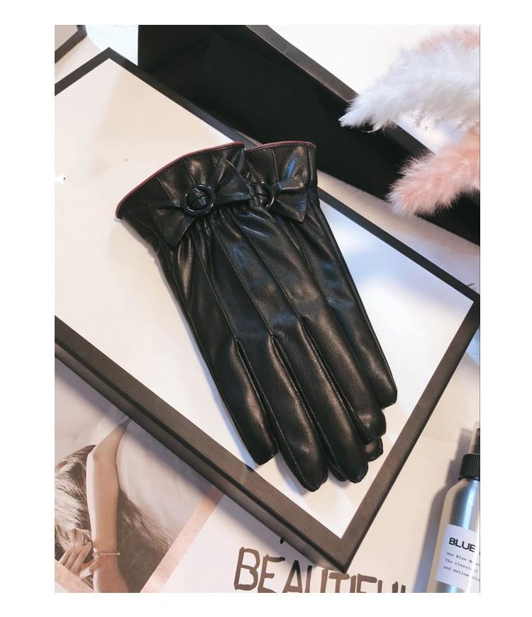 Кожаные перчатки Женская Зима Симпатичные Ремонт Ручной Галстук с бархатом Утолщенный Теплый Зимний Велосипед Сенсорный экран Начните тонкий новый A1