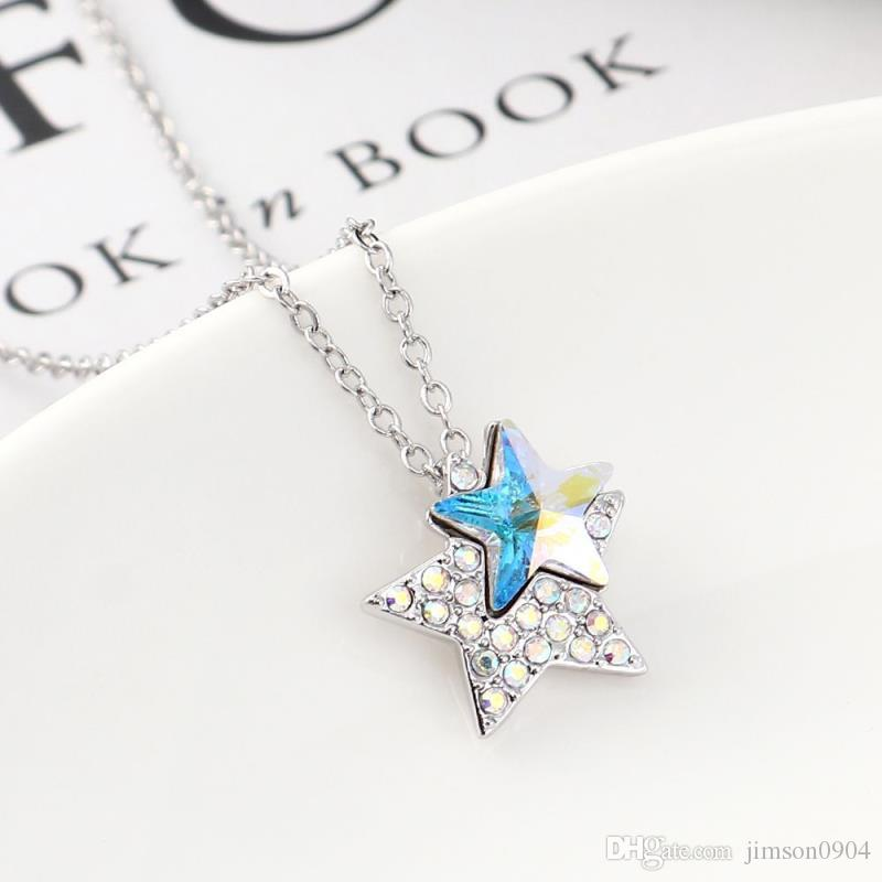 Bright star manshijia element imported crystal necklace, European and American cross border fashion diamond Double Star Pendant Chaoren