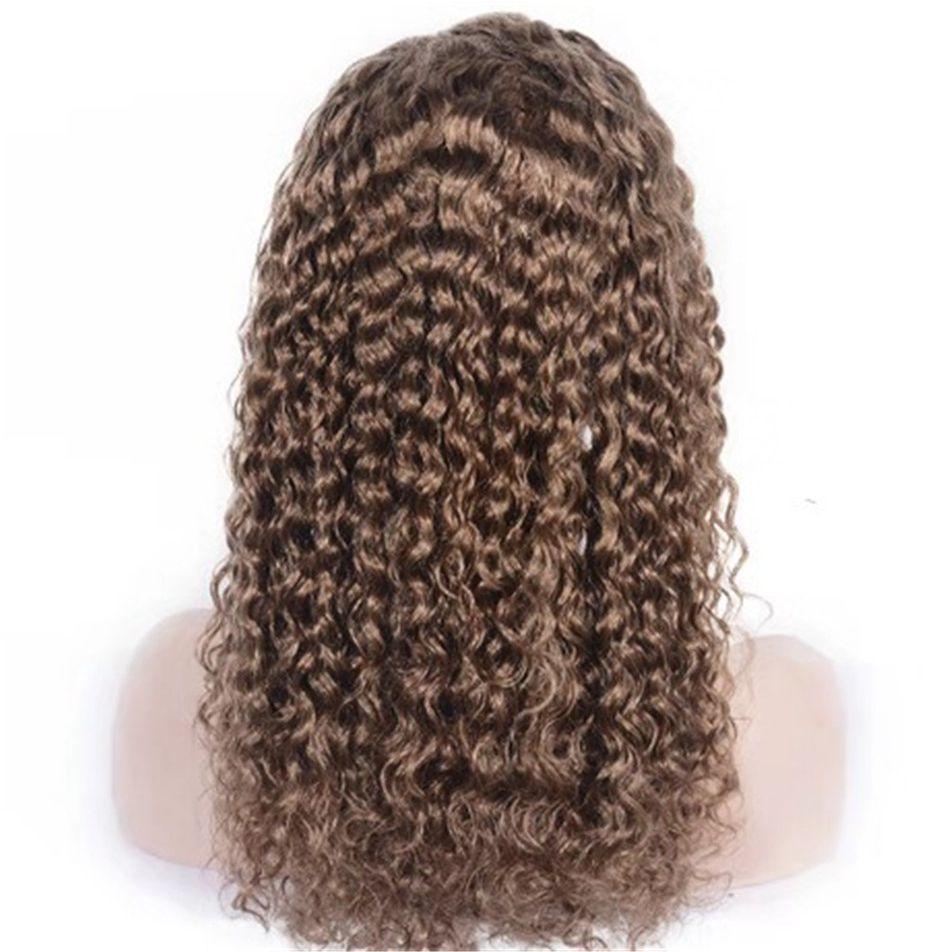 10 # malese piena del merletto dei capelli umani parrucche Pre pizzico 6-26 pollici corti lunghi ricci merletto della parte anteriore della linea sottile naturale