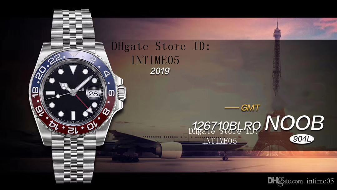 Rolex BASELWORLD NoobF مصنع GMT II 126710 بيبسي 904L الصلب اليوبيل سوار 40MM السيراميك مدي Cal.3285 الحركة التلقائية للرجال ساعات