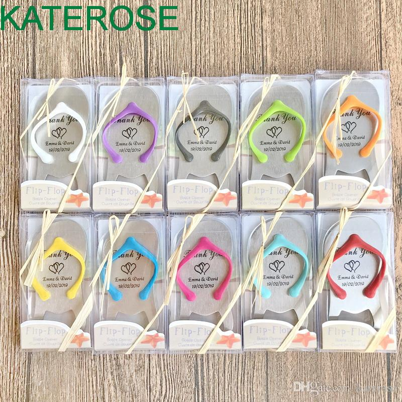 100PCS Personalized Flip Flop Bottle Opener Customized Wedding Bottler Openers in Gift Box Bridal Shower Favors