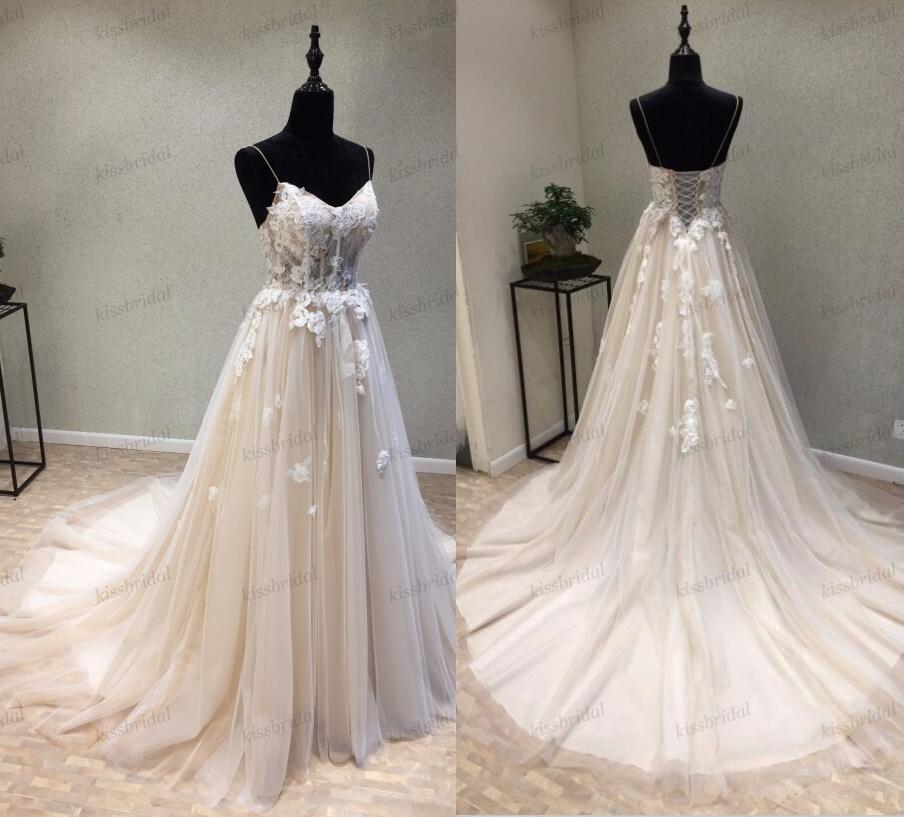 Vintage Champagne Lace Wedding Dresses Bohemian Full Lace Retro Bridal Gowns 3D Floral Summer Beach Long Bridal Wedding Reception Dress