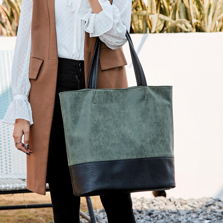 New femmes occasionnels plaine mode grand sac fourre-tout patchwork couleur unie cuir femmes sac à main Sacs à bandoulière Sac à main