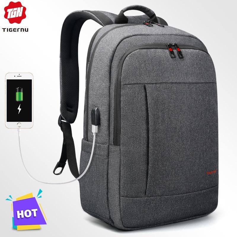 Tigernu مكافحة سرقة USB bagpack 15.6 إلى 17inch حقيبة كمبيوتر محمول للمدرسة النساء الرجال حقيبة أنثى ذكر سفر Mochila T200602