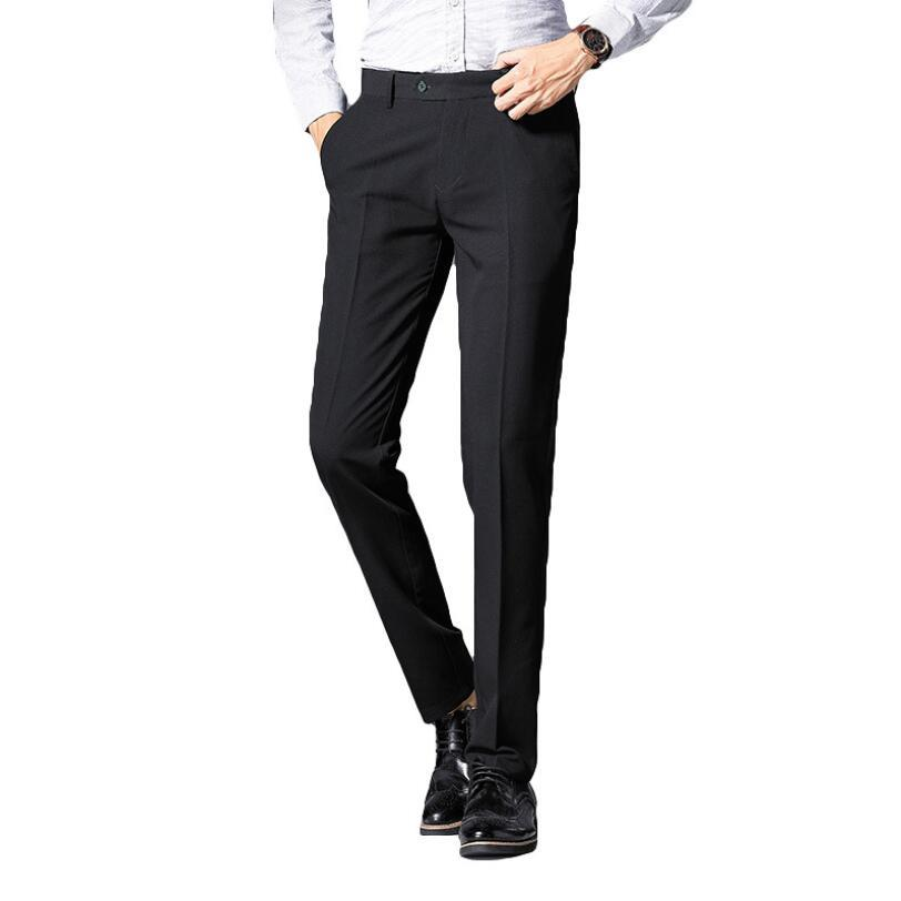 New Men's Clothing suit trousers /Male High qualitySolid Black Slim Fit Business Suit pants/Male High-end Leisure Wedding Casual