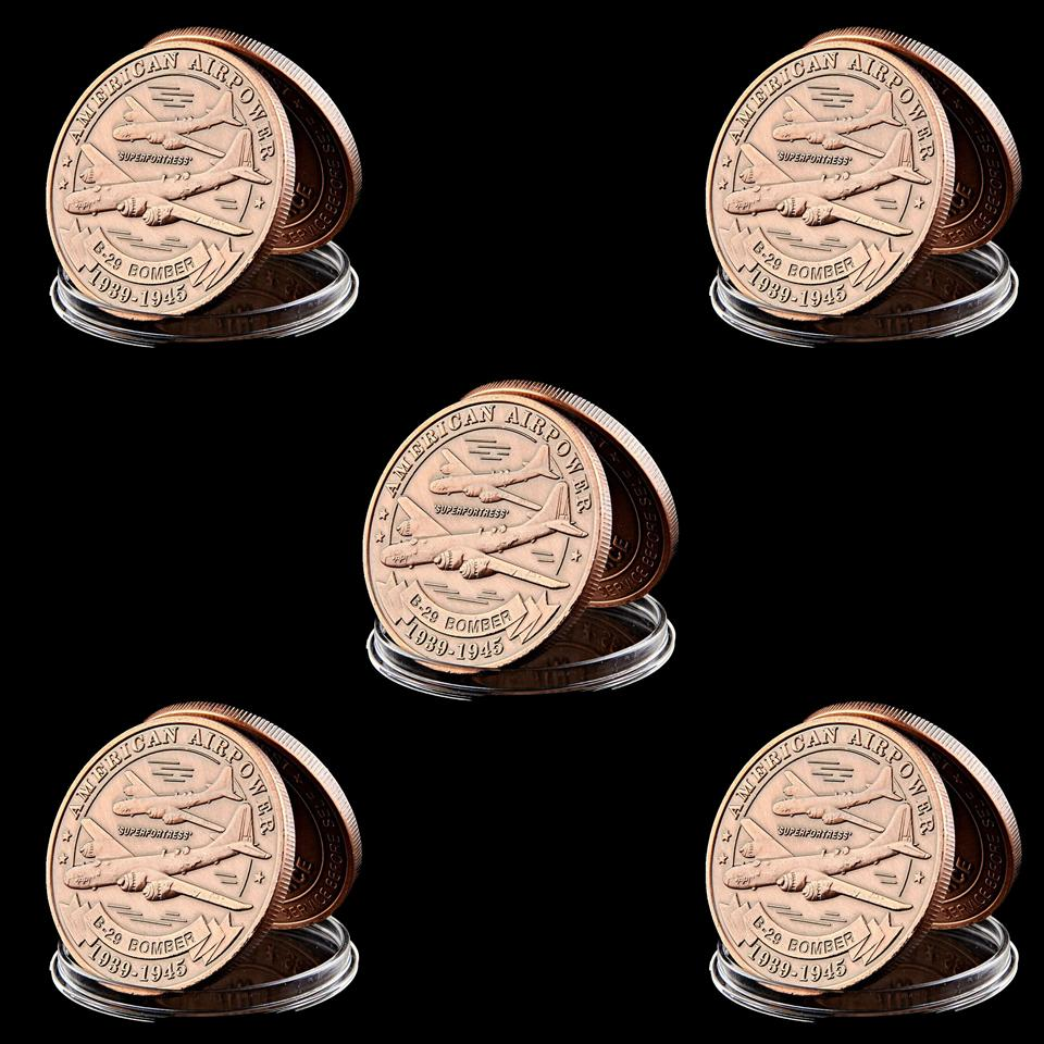 5pcs US Nice Air Force Fighter B-29 Brass Metallic 1oz Copper Plated Military Challenge Coin Metal Craft Gift