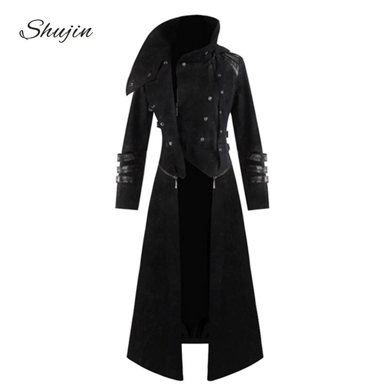 SHUJIN Mens Gothic Steampunk con capucha Trench Party Costume Chaqueta de manga larga Moda Chaquetas para hombre Abrigos Chaqueta Hombre