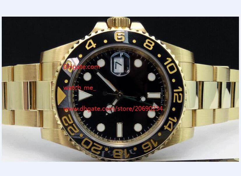 Qualitäts-Armbanduhren Keramik-Lünette mit schwarzem Zifferblatt Gold-GMT 116718 Asien 2813 Uhrwerk Automatik Herren Uhruhrmanmannuhr