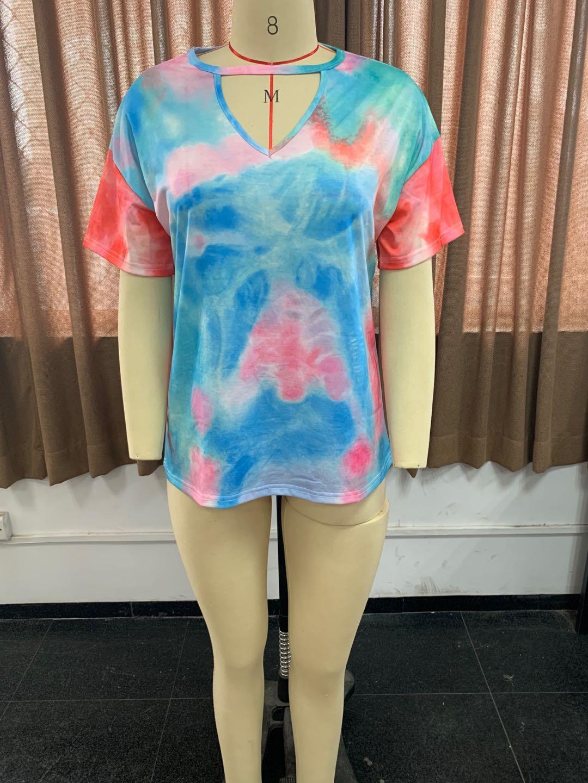 2021 летний дизайнер женские моды TEE повседневная галстук-краска свободные короткие рубашки футболки T The Tops Street Blouse рукав напечатанный V-образным вырезом одежда XJJGQ