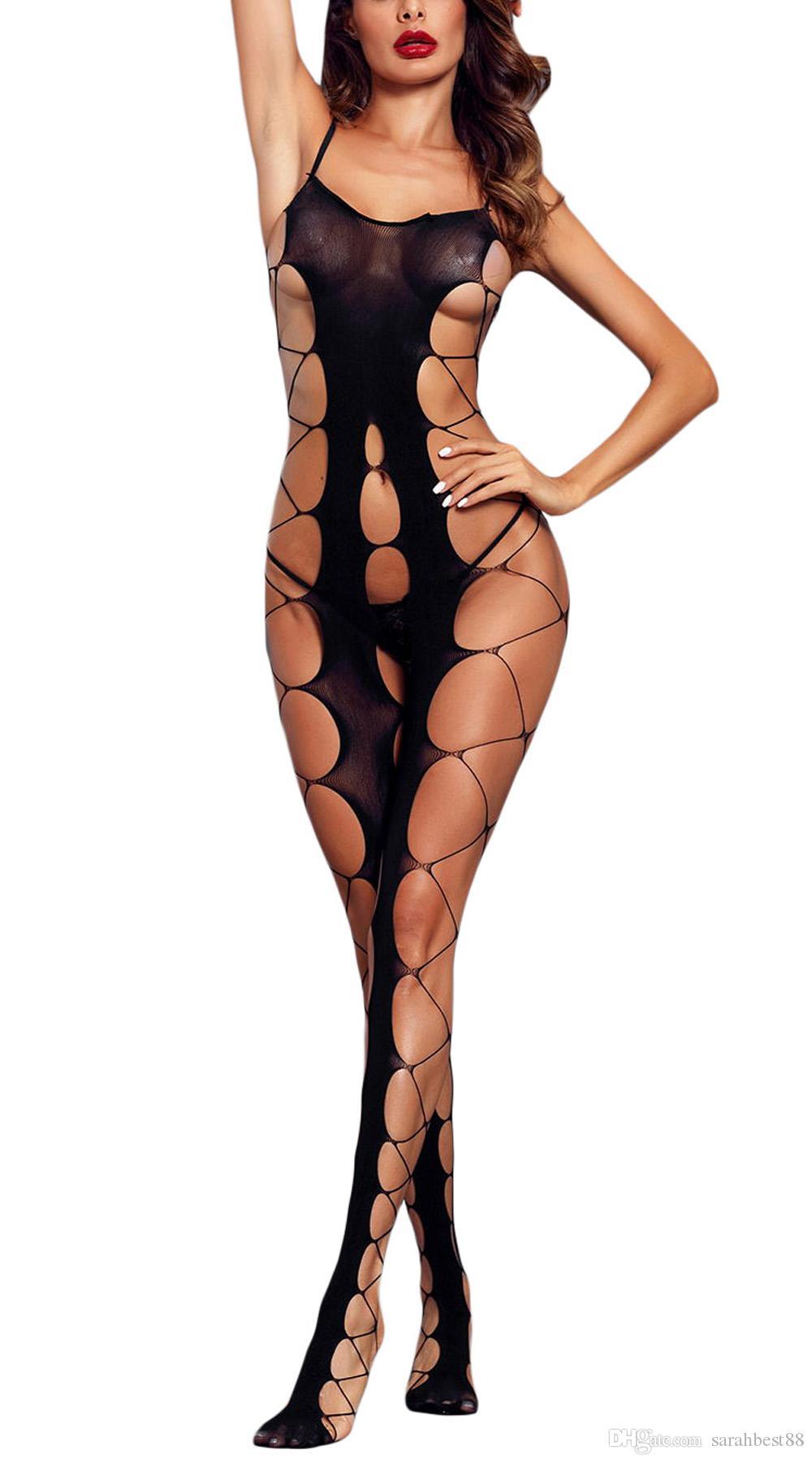 Fori Donne Sexy Fishnet Grandi apertura sul cavallo e della calza del corpo scavato Out spalline Backless di un pezzo degli orsacchiotti lingerie abbigliamento esotico