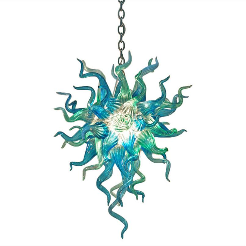 Teal Blue Color Handmade Blown Glass Chandelier LED Bulbs Colored Ceiling Light Art Deco LED lights E14 Modern Art Glass Chandelier Lighting