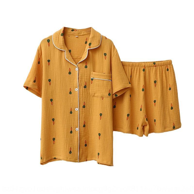 Havuç iplik yaz erkek ve krep Şort pijama V8xws R1vYH Çift havuç kısa kollu şort pamuk pamuk elbise kadın ev bez yıkanır