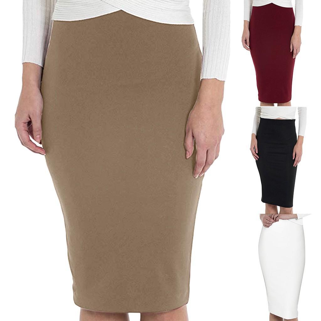 Plus Size S-3XL Sexy Midi Crayon Coton Jupe Femmes 2019 Bureau haut élastique Mode taille Lady Jupe stretch moulante solide