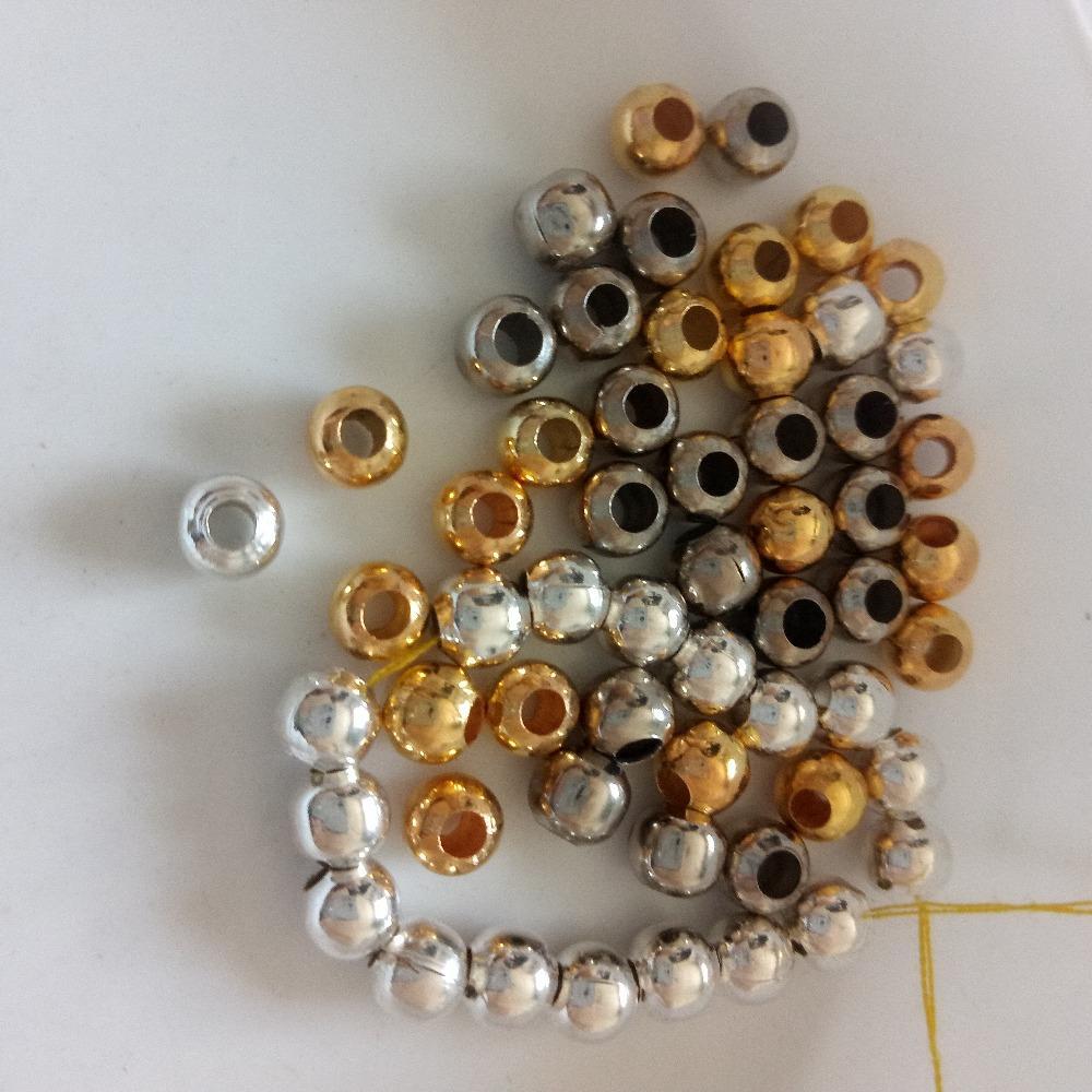 도매 500pcs 라운드 큰 구멍 비즈 4mm / 6mm / 8mm 중공 광택 비즈 팔찌 목걸이 DIY 패션 보석 찾기 만들기