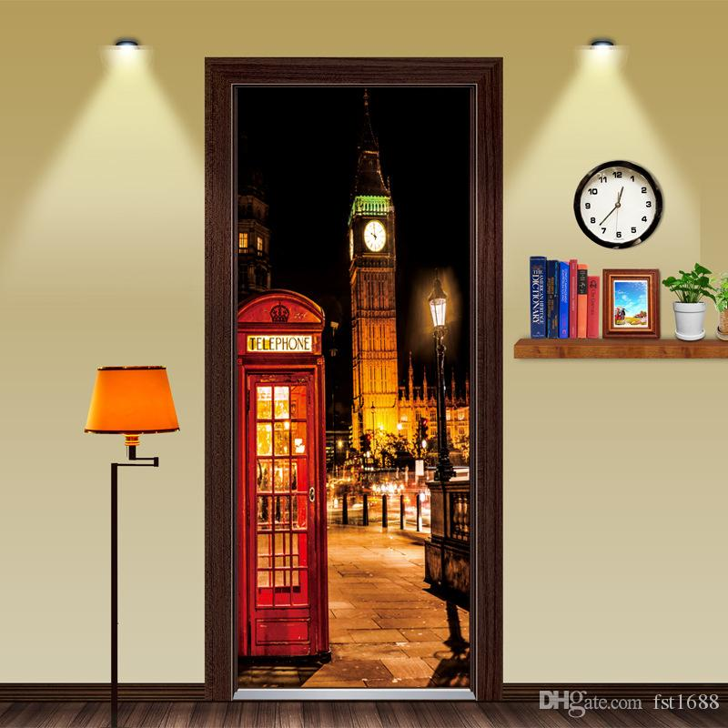 DIY British style London Red Phone Booth Sports Car Big Ben Classic Door Sticker DIY Mural Home Decoration Poster PVC Waterproof Sticker