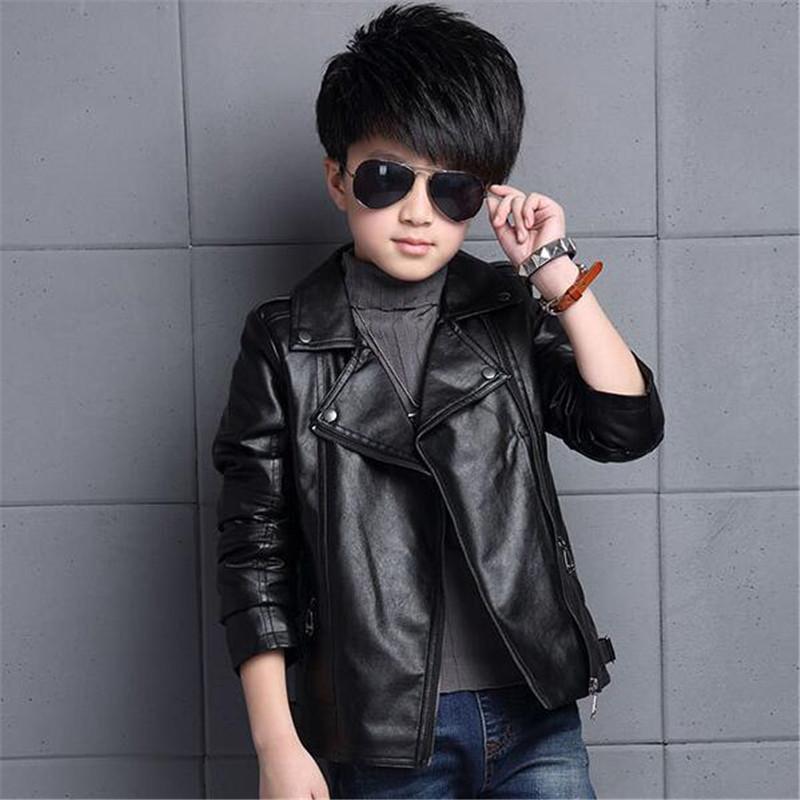 Kid Children Coats Jackets Boys Leather Casual Turn-down Collar Jacket Black Hot