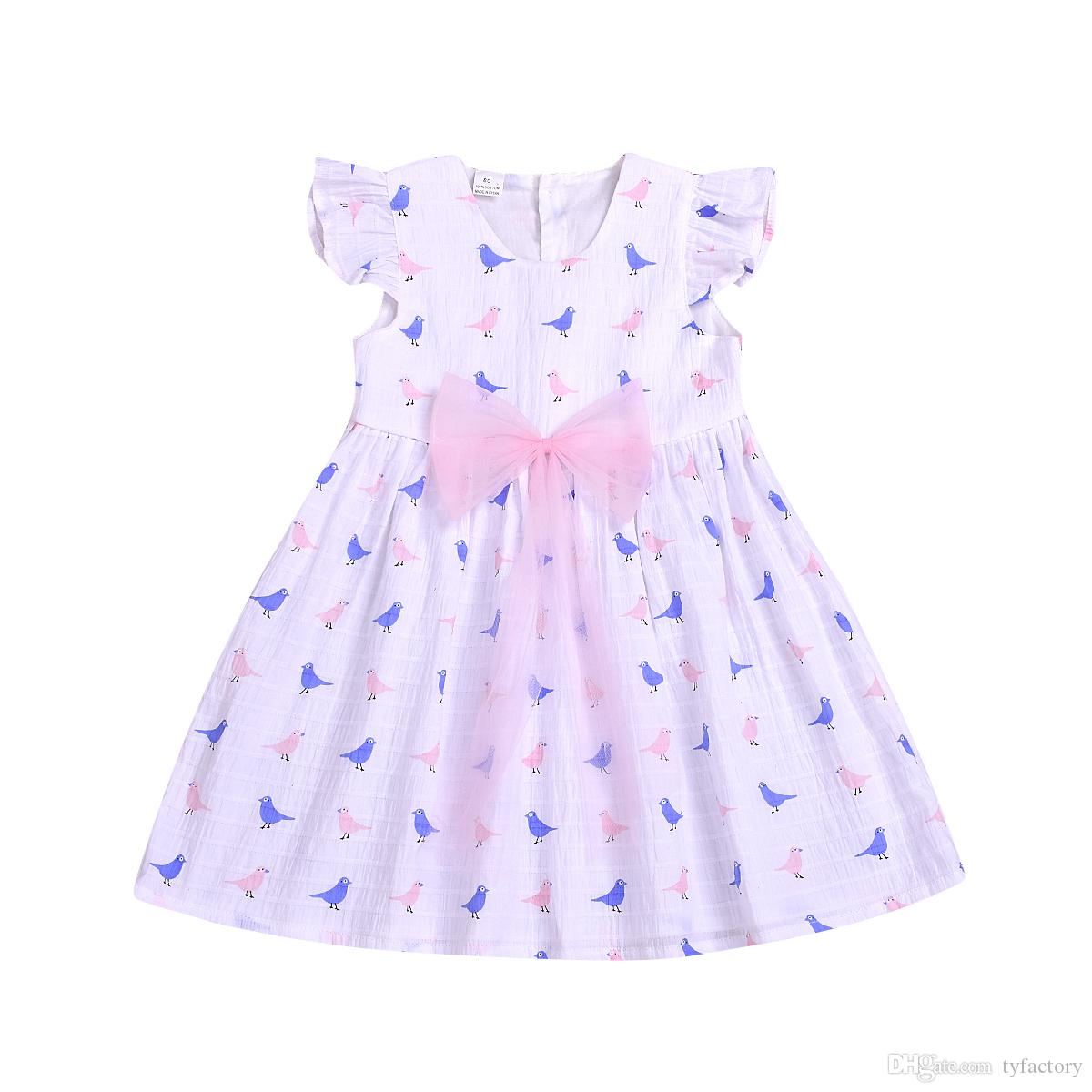 Kids girls Little bird princess dresses clothes white color baby dress boutique girl clothing clothes