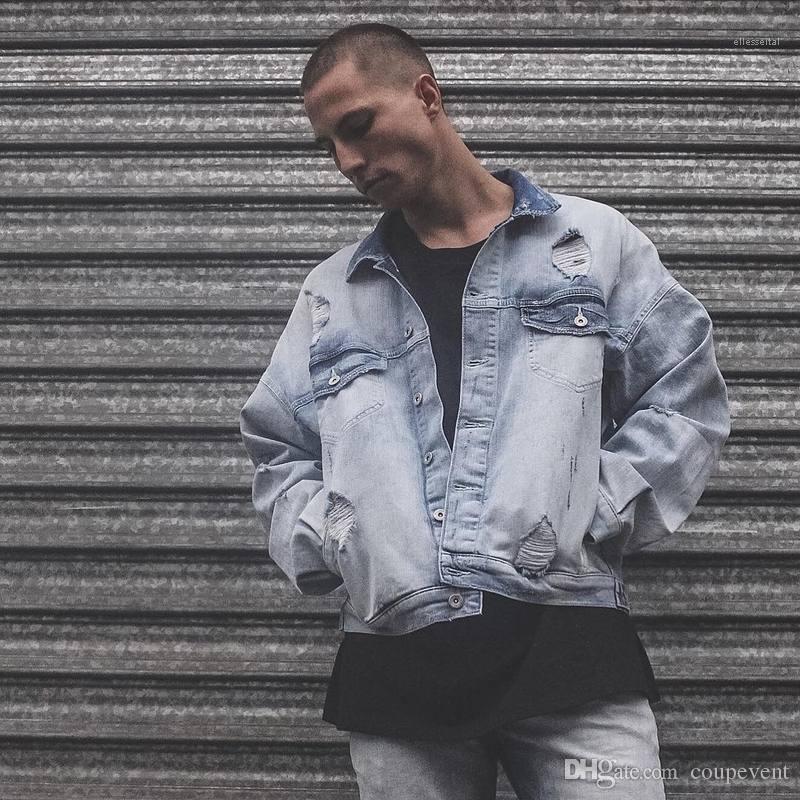 High Street Veste Manteaux Hombres Vêtements pour hommes Oversize Ripped Jacket Denim Blue