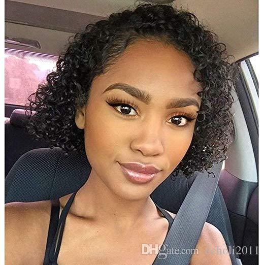 Perruques de cheveux humains de cheveux bouclés courts avant de cheveux noirs pour les femmes noires