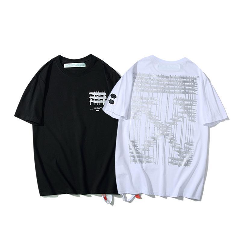 OFF Europa e in America OW bianco edificio industriale graffiti 3D freccia Sport Tempo girocollo a manica corta uomini e le donne della maglietta