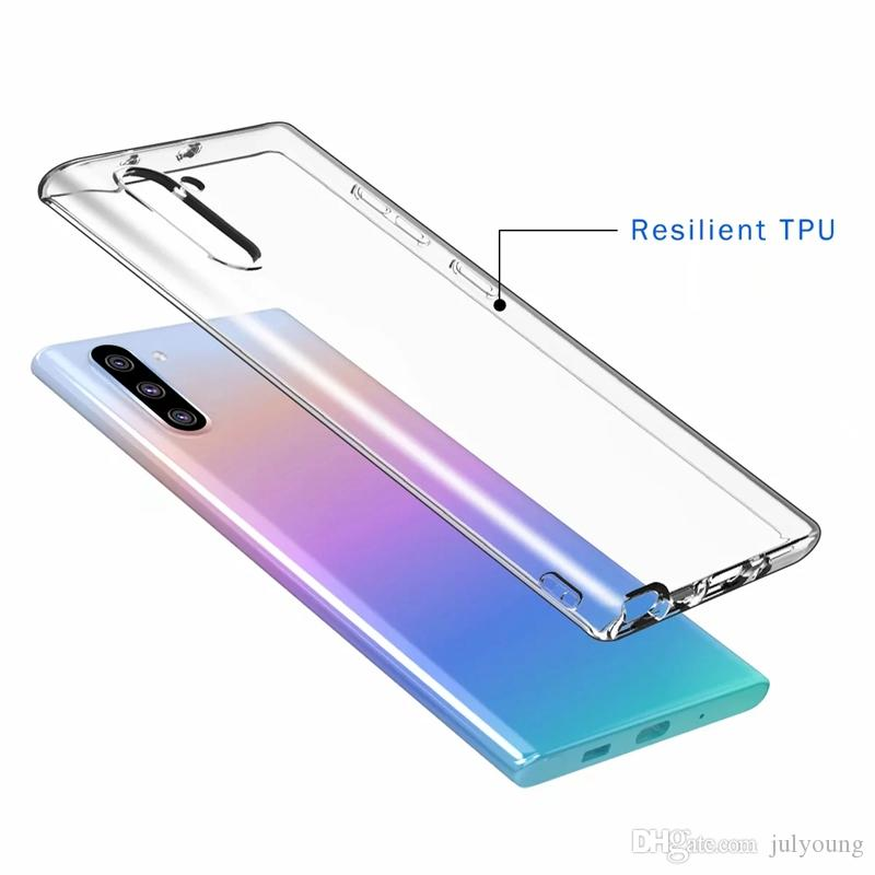 Clear Soft TPU Case For Samsung Galaxy Note 10 Note10 Pro Transparent Silicone Gel Plain Cell Phone Unique Back Cover Skin 2019 Hot New