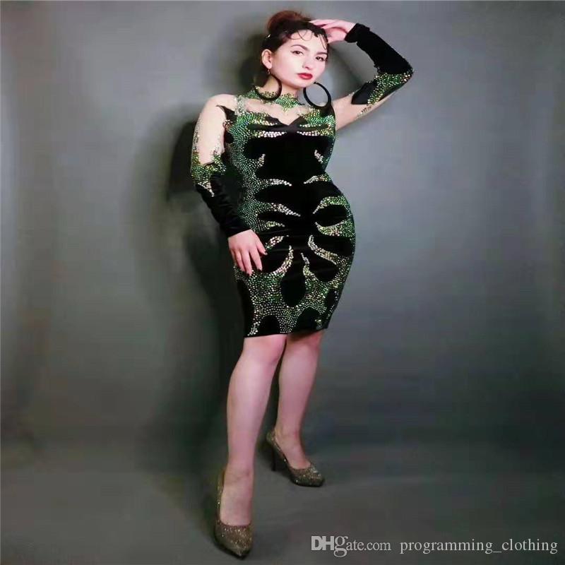 T48 Femme pleine sexy jupe hanche strass femmes robe de cristal de pole dance tenue costume jouent partie scène chanteur robe de soirée disco porte