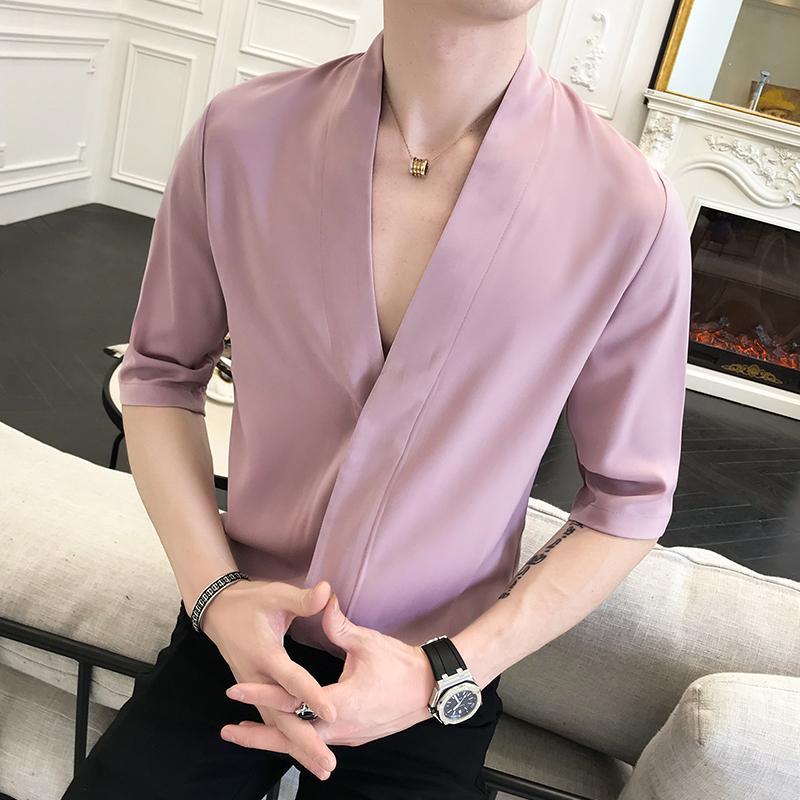 2020 여름 한국어 중국어 스타일의 프린트 셔츠 남자 긴 소매 V 칼라 Camisa Masculina 셔츠 Camisa Homem Camisas 파라 험 브레