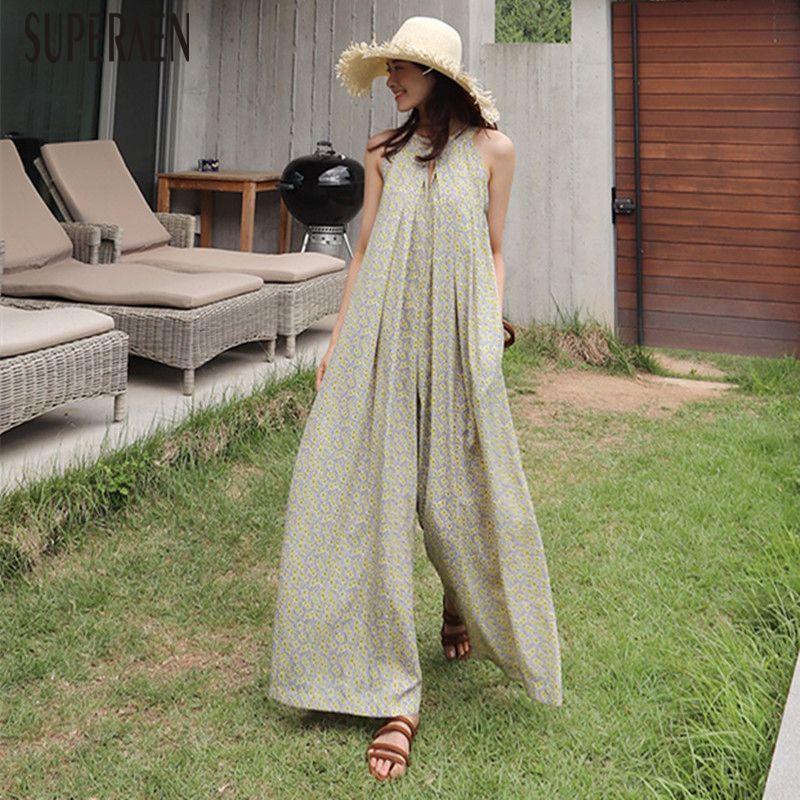 Superaen Summer Korean Style Women Jumpsuits Wide Leg Pants Pluz Size Chiffon Jumpsuits Casual Loose Fashion Jumpsuits New 2018 Y19051601