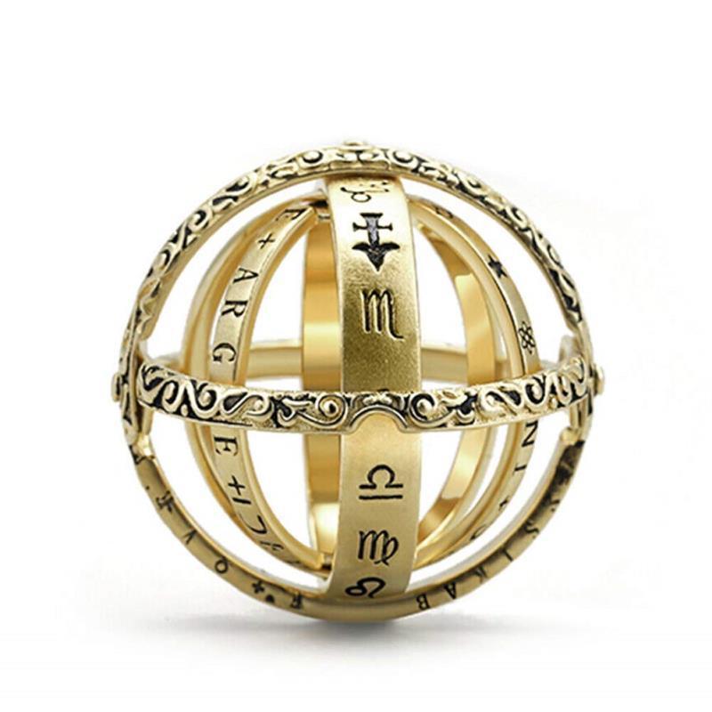Anillo de bola de esfera astronómica Anillo de dedo cósmico Pareja amante Regalos de joyería Regalos de San Valentín Regalos de aniversario