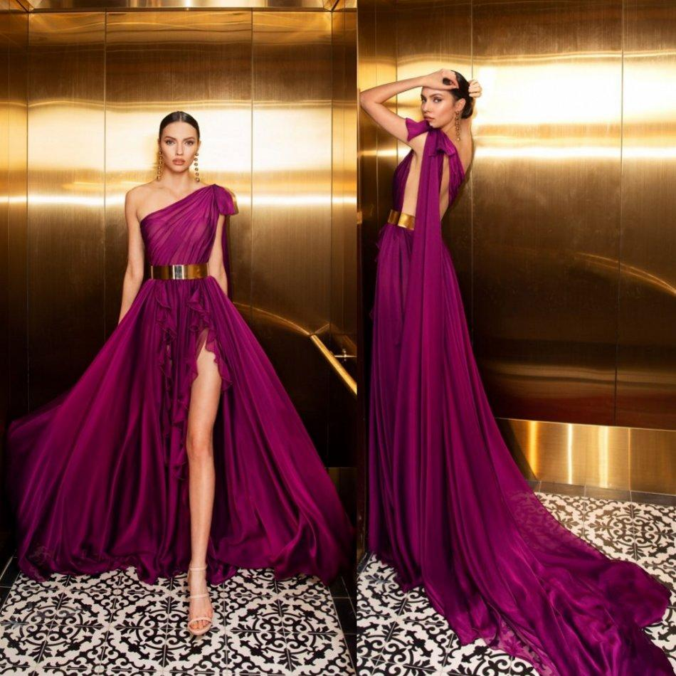 Fuchsia Evening Dress One Shoulder Metal Belt High Split Prom Dress Backless Ruffle Sweep Train Custom Made Long Formal Party Gowns
