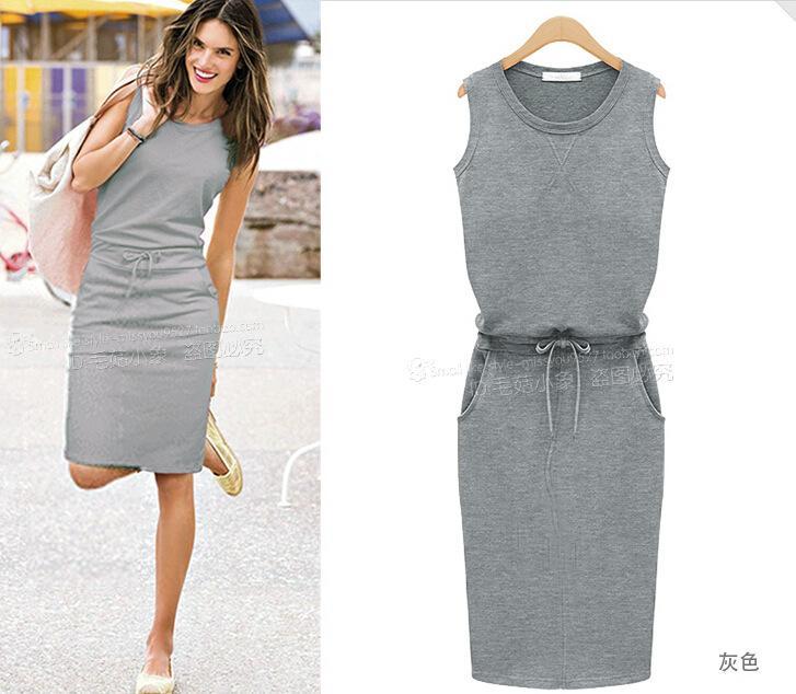 Sommerfrauen graue gerade Rockkleid war sleeveless rundes Ansatzkleid dünnes Paket Hüftgurt