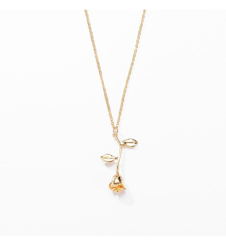Pink Gold Rose Flower Statement Pendant Necklaces Women's girls Beauty and Beast Fashion Jewelry Collier Lovers Gifts DHL