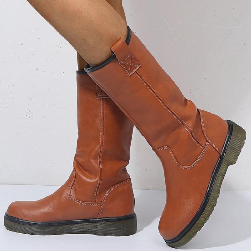 plano de couro mulheres inverno botas de neve Outono pu com senhoras sapatos plataforma do vintage botas ocidentais chaussure femme