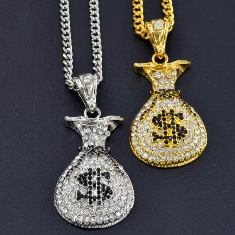 Elmaslar kolye kolye Altın Ve Gümüş Renk Alaşım Erkekler Takı Hediye ile Yeni Hip Hop Doları Çanta kolye kolye Seti
