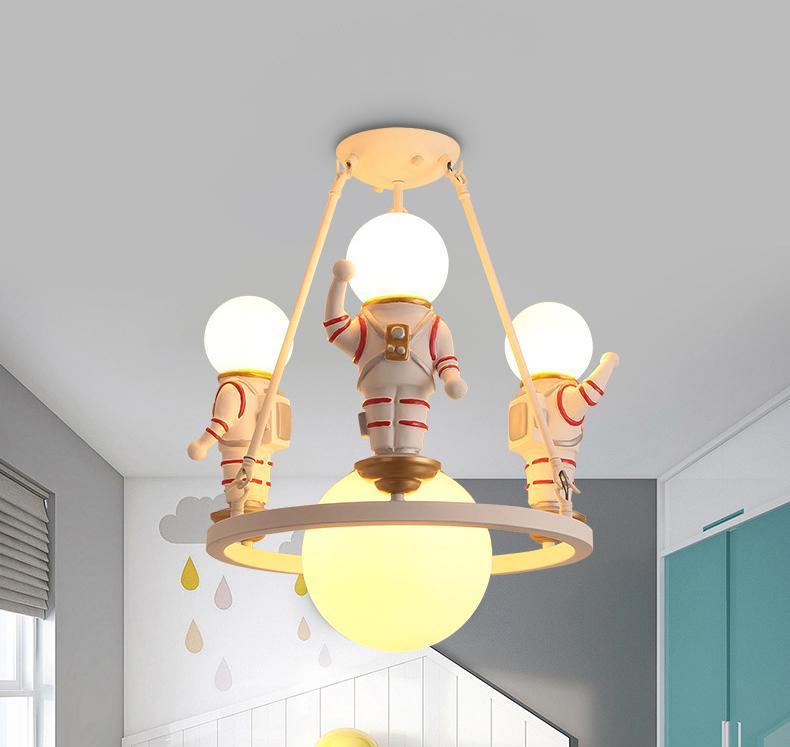 Creativo de la historieta del astronauta de la lámpara del Dormitorio de los muchachos de los niños de la lámpara LED individual Habitación estadounidense universo Color de iluminación de la lámpara llevó la luz