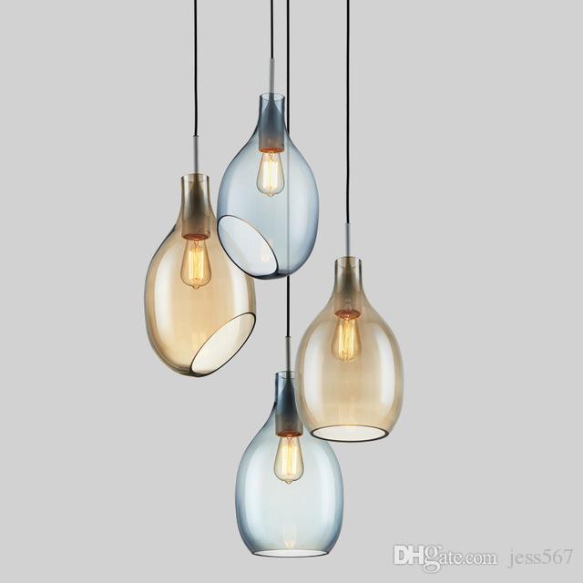 Basit Cam Kolye Işıklar Moder Minimalist LED Bar Yemek odası kolye Lambalar Ev Dekorasyon Aydınlatma E27 AC110-220V Luminari110`260V
