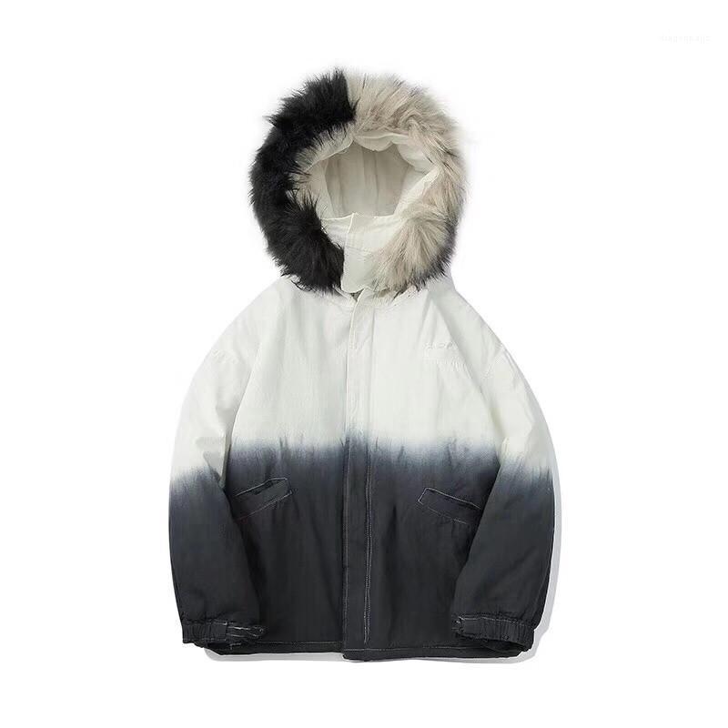 Escudo diseñador para hombre de la calle del estilo ropa de invierno para hombre de color de moda abrigos gruesos con paneles teñido lazo con capucha Estilo