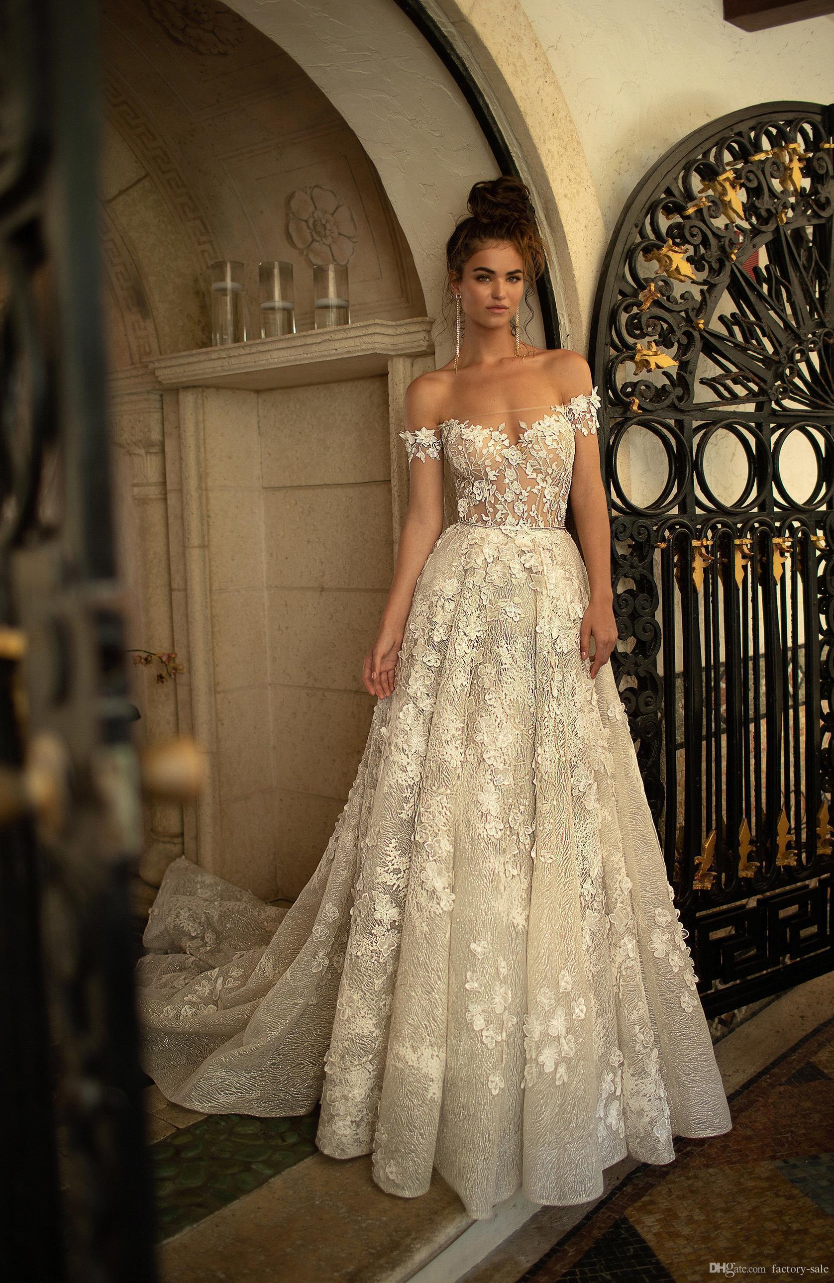 Discount New Fashion Off Shoulder Lace 3d Floral Applique Wedding Dresses A Line Sweep Train Wedding Dress Sexy Bridal Gowns Vestidos De Novia Ball