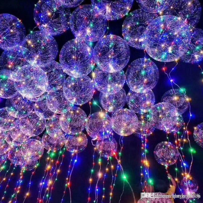 Luminosa LED Balão Luzes Cordas Flasher Iluminação BoBo Balão Onda Bola de 18 polegadas Balões de Hélio Decoração de Halloween de Natal Brinquedos