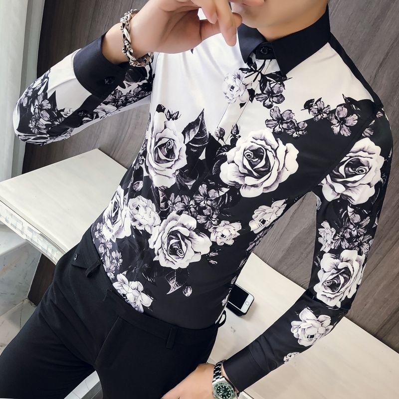Rose Shirt Men shirt Padrões Ropa De Hombre Party Club casamento Fit 2018 Button Up Men manga comprida Magro