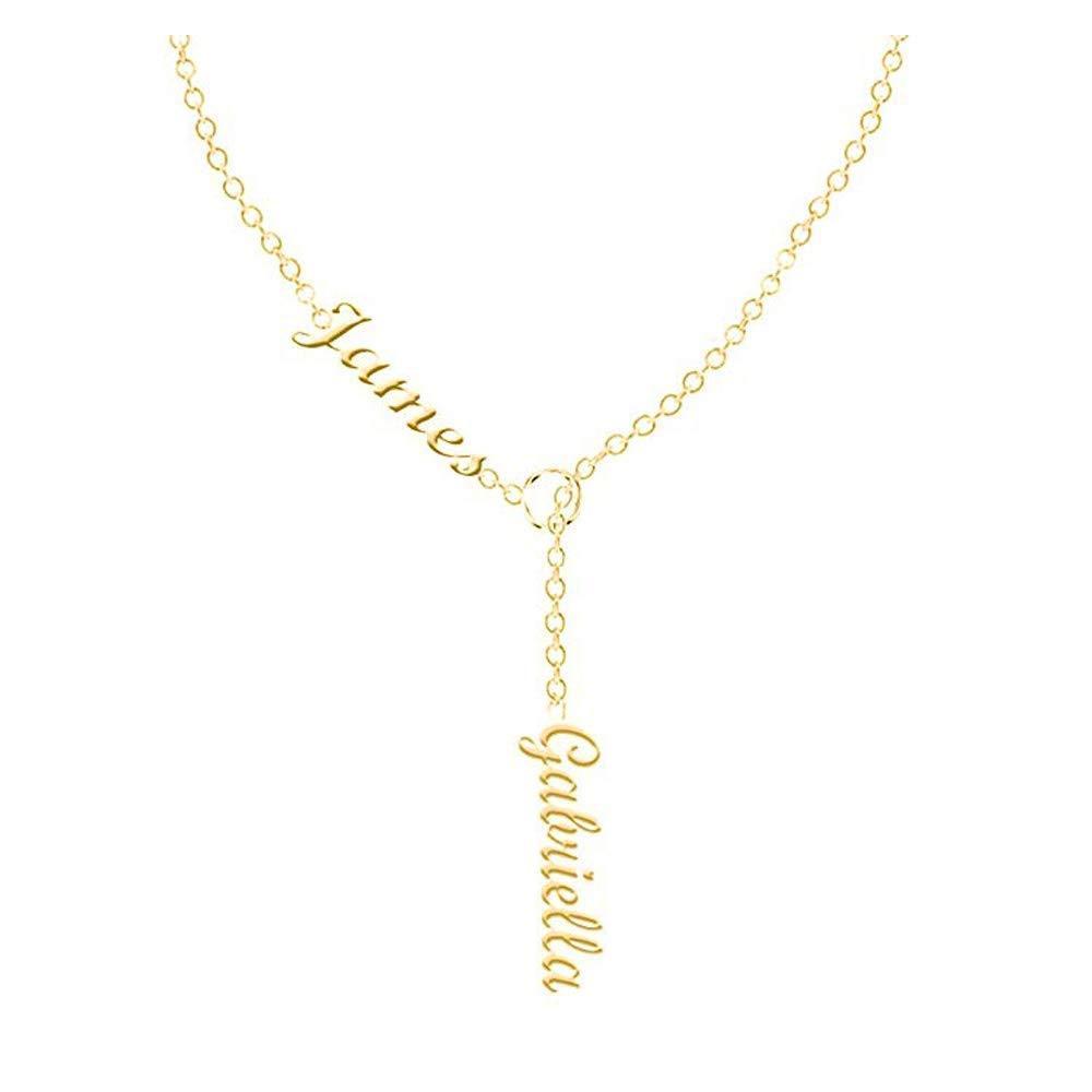 18k Gold überzogen Zwei Namenskette für Frauen-Mädchen-Anhänger personalisierte Gewohnheit irgendeine Typenschild Halskette Edelstahl Halskette