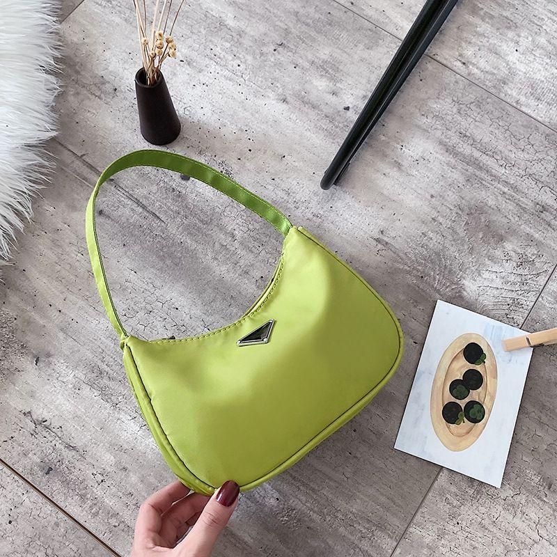 Vintage verde avocado donne del sacchetto di spalla di nylon sottobraccio borsa francese BW01-SB-fgfgzg